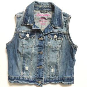 Aeropostale Women's M Blue Denim Button Down Vest